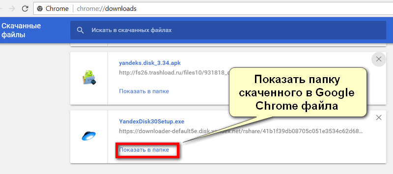 Скаченный в Google Chrome Яндекс Диск