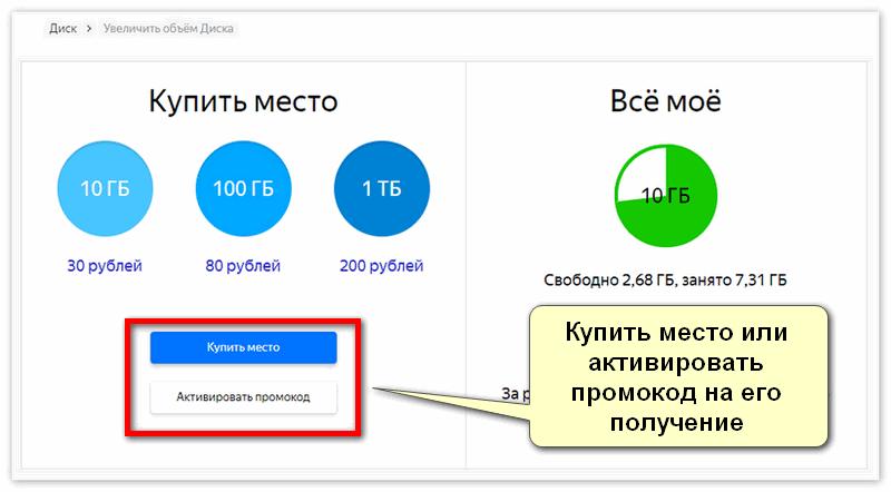 Купить место на Яндекс Диске для смартфона