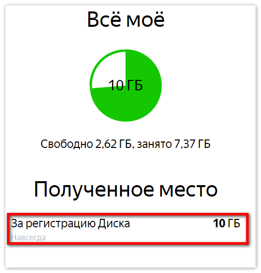 Полученные 10 Гб Яндекс Диска