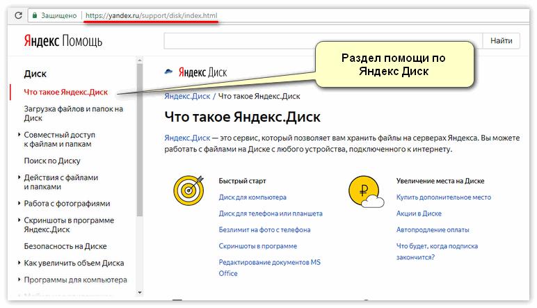 Раздел помощи по Яндекс Диск