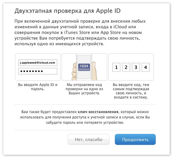 Двухэтапная проверка для Эйпл ИД