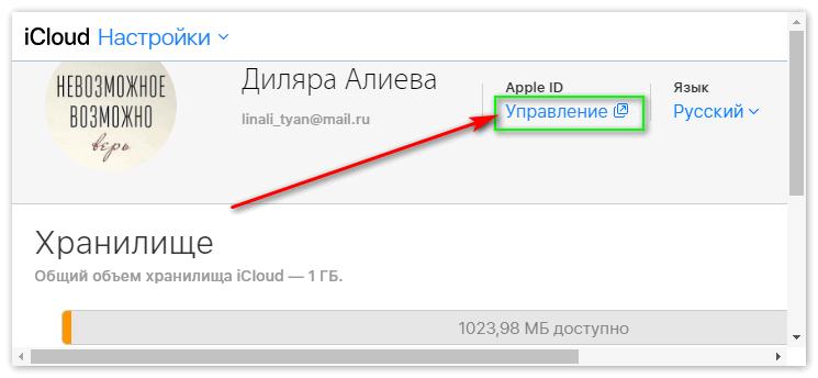 Вкладка Управление в настройках iCloud