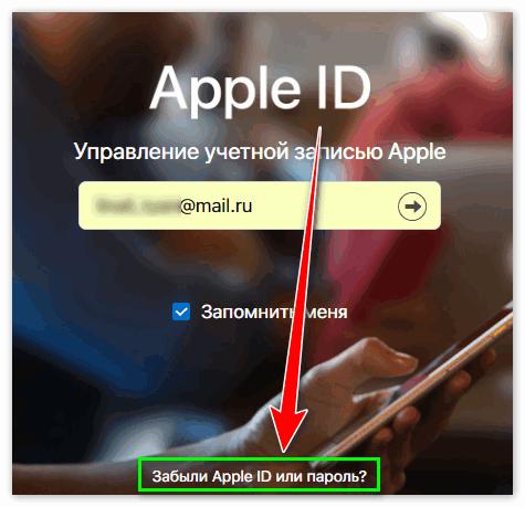 Забыл пароль от Эйпл ИД